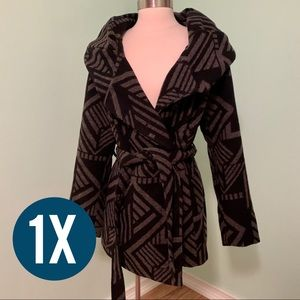 Plus Coat Ava & Viv 1X Black and Gray Wool Tie
